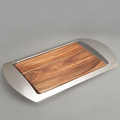 Nambe Metal/Wood Mikko Bar Tray