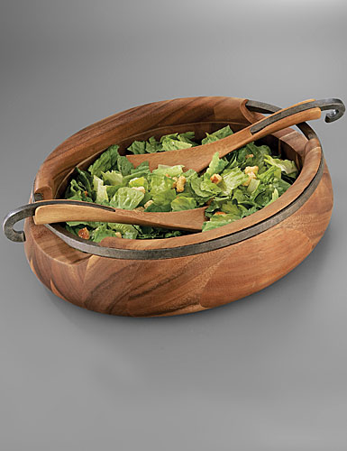 Nambe Metal and Wood Anvil Salad Bowl w/Servers