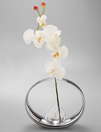 Nambe Globe Large Vase with Orchid