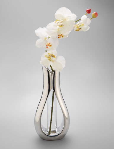 Nambe Tulip Large Vase With Orchid