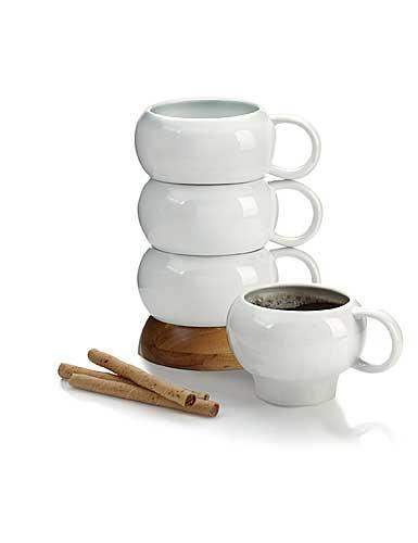 Nambe Wood Gourmet Bulbo Mug Stack, Set of 4