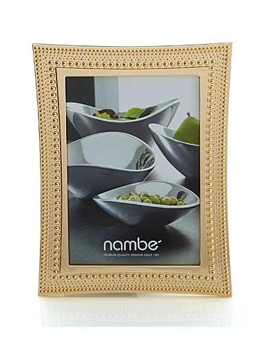 """Nambe Metal Beaded Gold 5x7"""" Frame"""