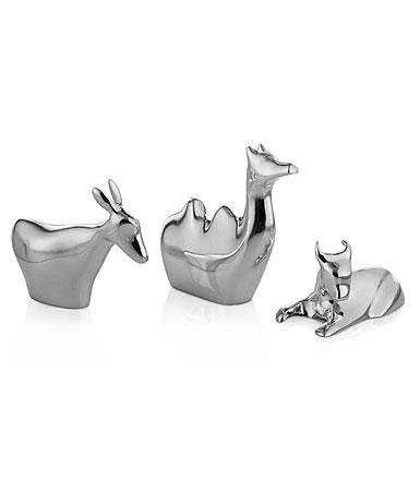 Nambe Metal Mini Nativity 3 Animals, Donkey, Camel, Bull