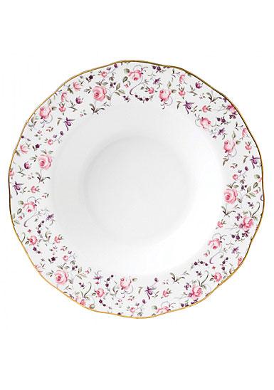 Royal Albert China Rose Confetti, Vintage Formal Rimmed Soup and Salad Bowl
