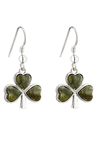 Cashs Sterling Silver and Connemara Marble Shamrock Pierced Earrings Pair