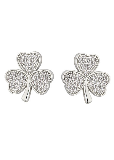 Cashs Rhodium Shamrock Pierced Earrings Pair