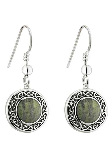 Cashs Sterling Silver and Connemara Marble Round Celtic Drop Earrings Pair