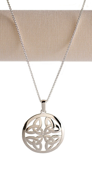 Cashs Sterling Silver Round Trinity Knot Pendant Necklace