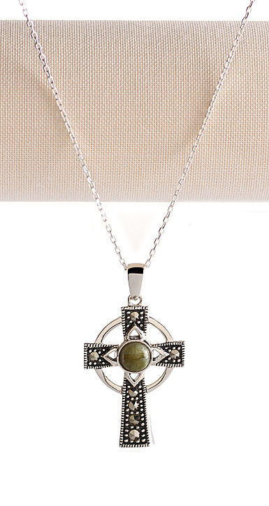 Cashs Sterling Silver Cross With Round Connemara Marble Pendant Necklace