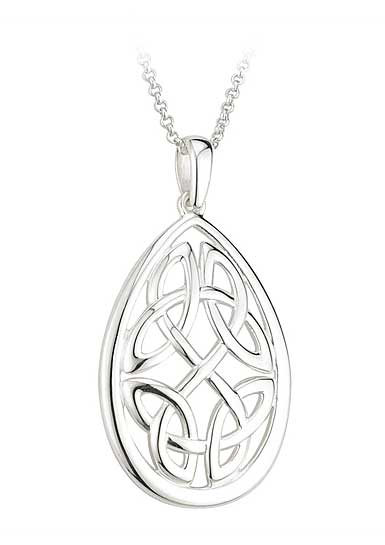 Cashs Sterling Silver Oval Failte Knot Pendant Necklace