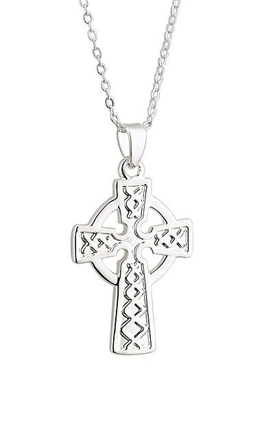 Cashs Rhodium Celtic Cross Pendant Necklace