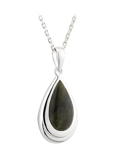 Cashs Sterling Silver Oval Connemara Marble Pendant Necklace