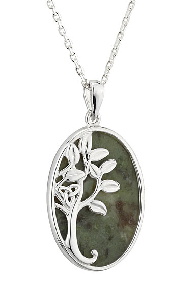 Cashs Sterling Silver and Connemara Marble Oval Tree of Life Pendant Necklace