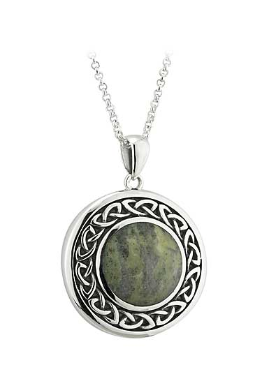 Cashs Sterling Silver and Connemara Marble Round Celtic Pendant Necklace