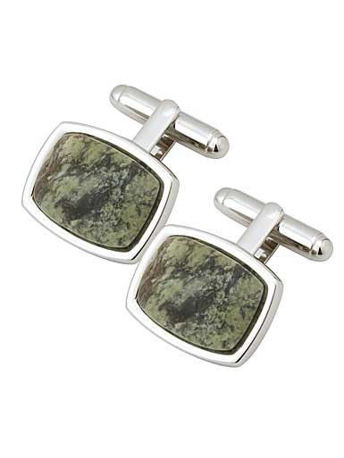 Cashs Rhodium and Connemara Marble Cufflinks Pair