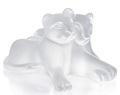 Lalique Figure Tambwee Lion Cubs