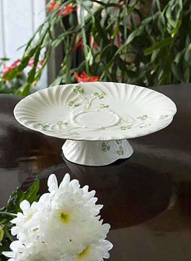 Belleek China Harp Shamrock Pedestal Cakeplate