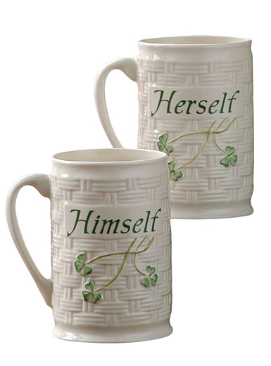 Belleek China Himself and Herself Mugs, Pair
