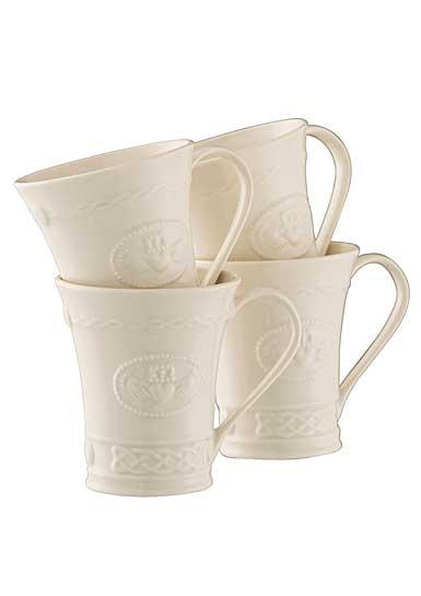 Belleek China Claddagh Mugs, Set of Four