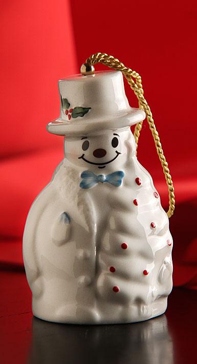 Belleek China Snowman With Fir Tree Ornament