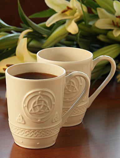 Belleek China Celtic Mugs, Pair