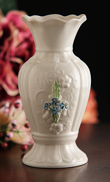"Belleek China Irish Forget Me Not 7"" Vase"