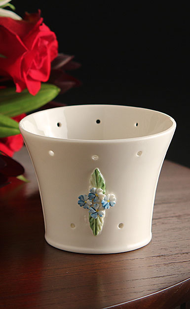 Belleek China Forget Me Not Pierced Votive