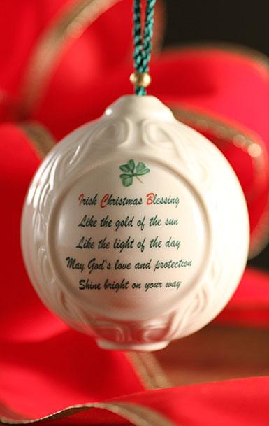 Belleek Christmas Verse Ball Ornament