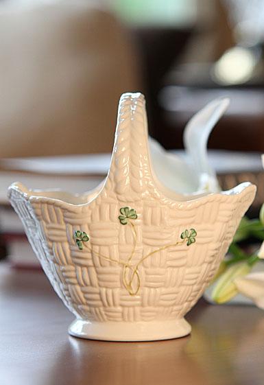 Belleek China Shamrock Handled Basket