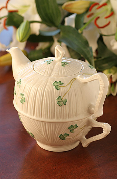 Belleek China Shamrock Tea For One Set