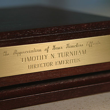 Brushed Brass Plaque for Wooden Base - Includes Engraving
