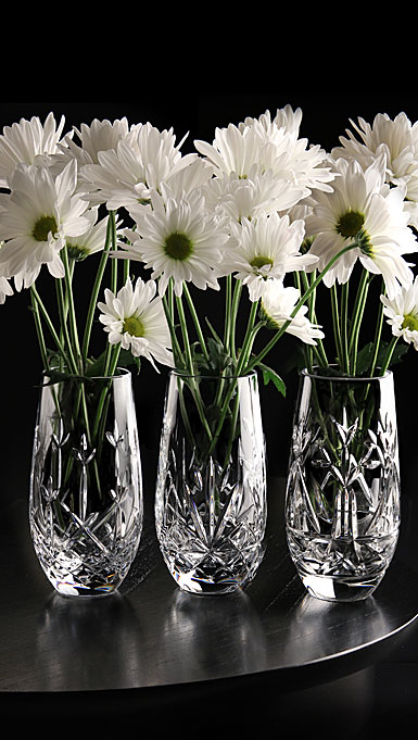 "Cashs Crystal The Three Sisters, Set of Three 6"" Vases"