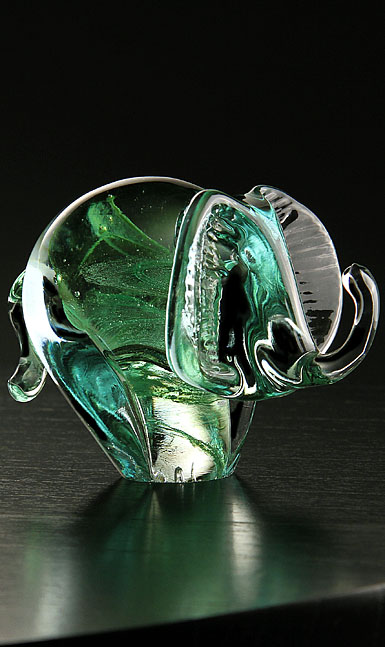 Cashs Art Glass Forty Shades of Green, Elephant Paperweight