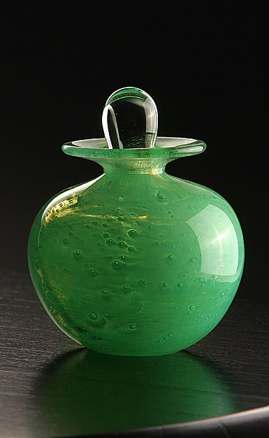 Cashs Art Glass Forty Shades of Green, Perfume Bottle
