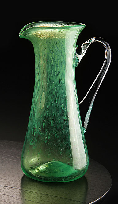Cashs Art Glass Forty Shades of Green, Large Pitcher