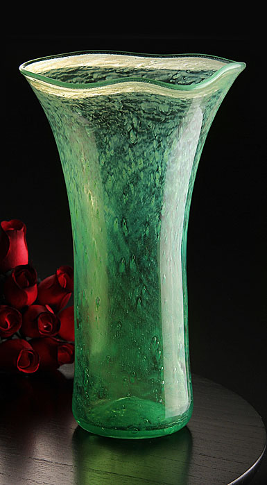 Cashs Art Glass Forty Shades of Green, Large Vase