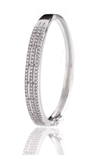 Cashs Crystal Pave Sterling Silver Triple Hinged Bracelet