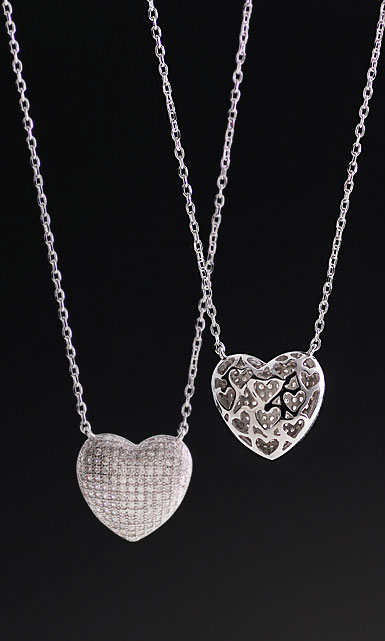 Cashs Crystal Pave Sterling Silver Heart Pendant Necklace