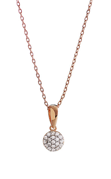 Cashs Crystal Pave Sterling Silver, Rose Gold Round Pendant Necklace