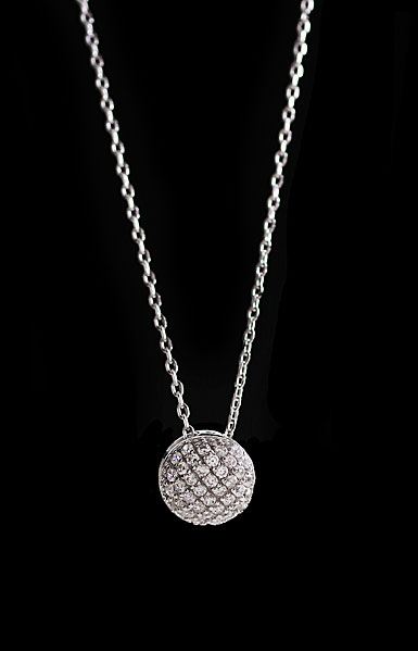 Cashs Crystal Pave Sterling Silver Button Pendant Necklace