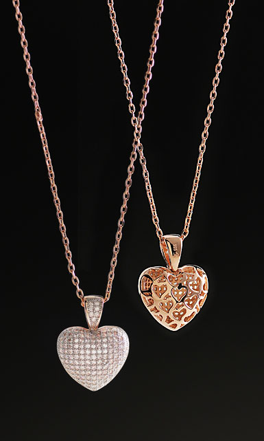 Cashs Crystal Sterling Silver, Pave Rose Gold Heart Pendant