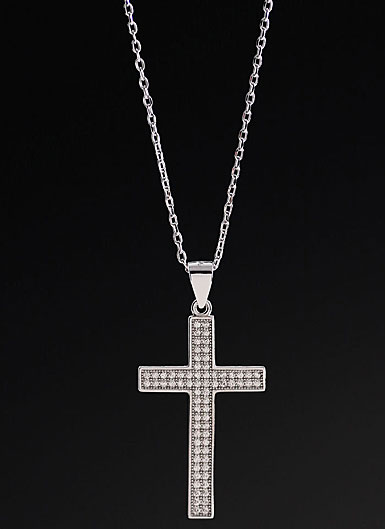 Cashs Crystal Pave Sterling Silver Medium Cross Pendant Necklace