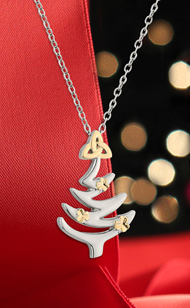 Cashs Crystal Cashs Christmas Tree Pendant Necklace