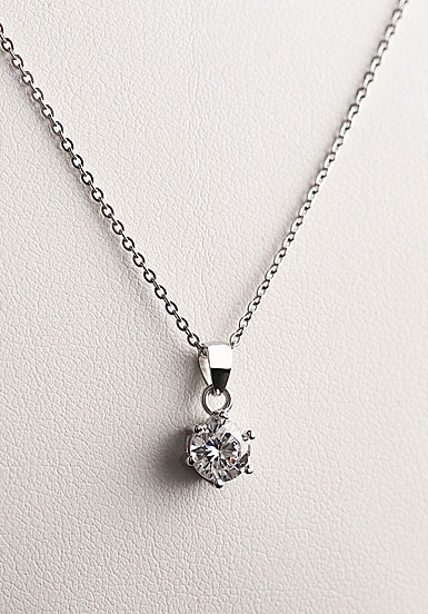 Cashs Crystal Sterling Silver Solitaire Pendant Necklace