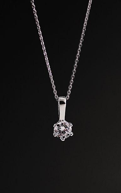 Cashs Crystal Sterling Silver Solitaire Nouveau Pendant Necklace