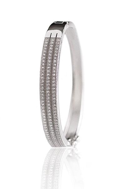 Cashs Crystal Pave Sterling Silver Elegance Triple Hinged Bracelet