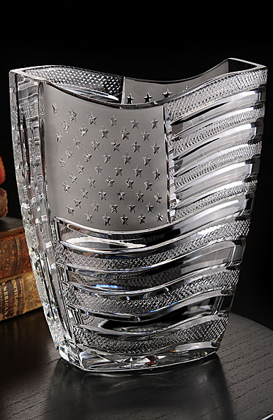 Cashs Crystal Art Collection Stars and Stripes, American Flag Vase