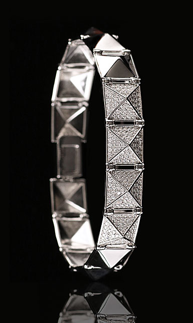 Cashs Sterling Silver Crystal Pave Rock'N'Roll Soft Bracelet