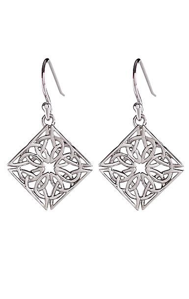 Cashs Sterling Silver Trinity Knot Diamond Fishhook Pierced Earrings