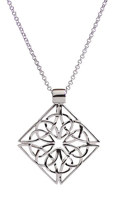 Cashs Sterling Silver Trinity Knot Diamond Pendant Necklace